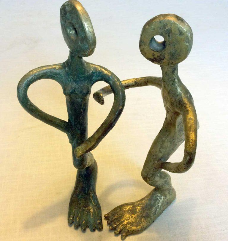Les amants - Sculpture en bronze